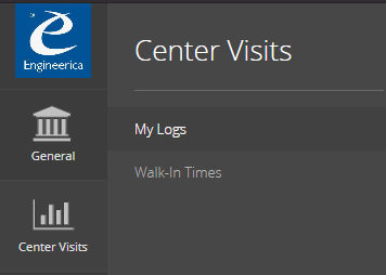 This is an image of the menu navigation to the Center Visits > My Logs section of AccuCampus
