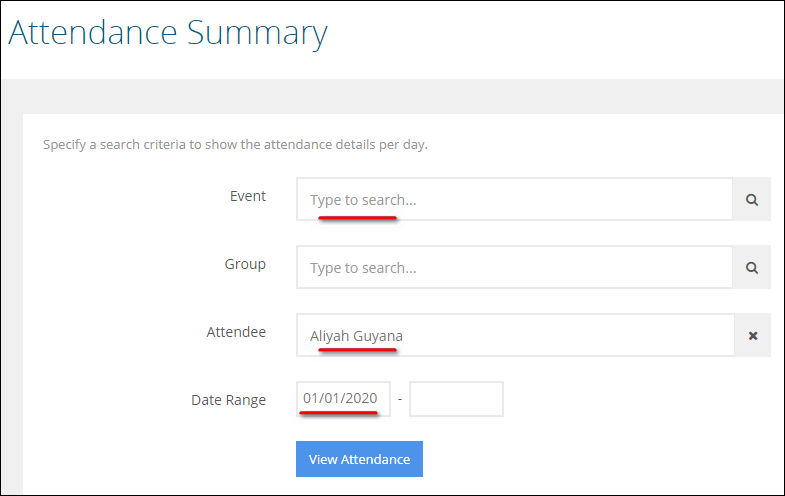 This is an image of the menu navigation to the Class Attendance > Attendance Summary section of AccuCampus