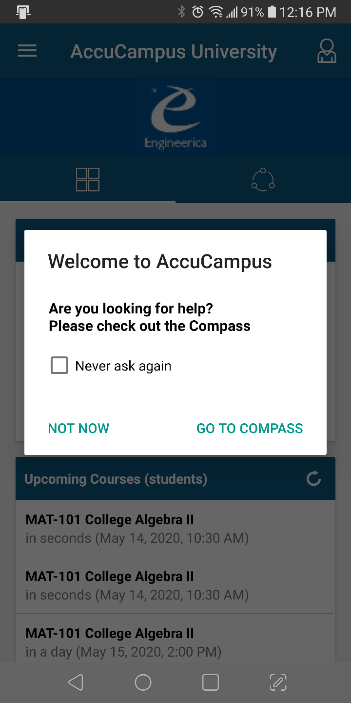 A screenshot of the AccuCampus app asking if the student would like to view the Campus Compass.
