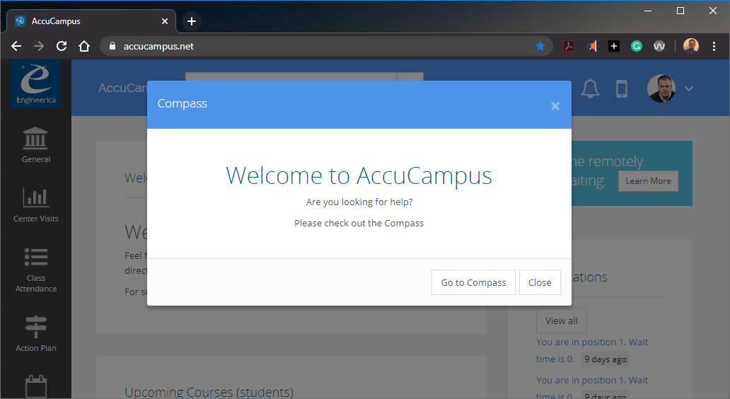 A screenshot of the accucampus.net website asking if the student would like to view the Campus Compass.