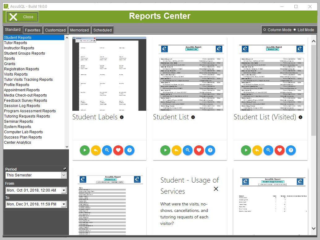 Reports Center screen
