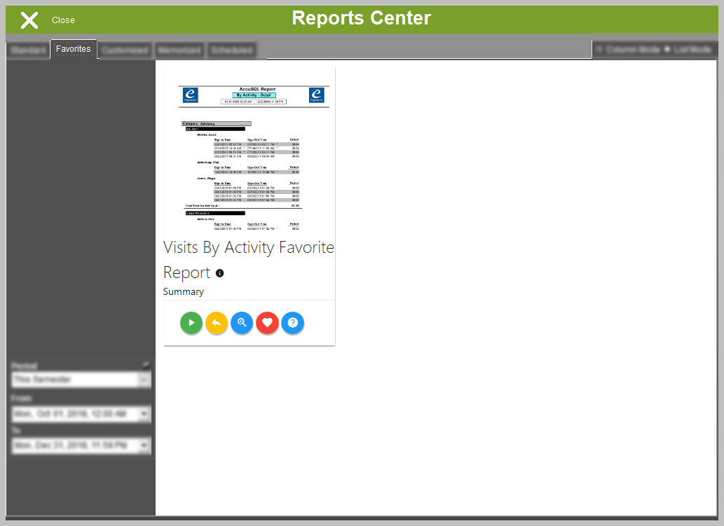 Reports Center - Favorites Tab