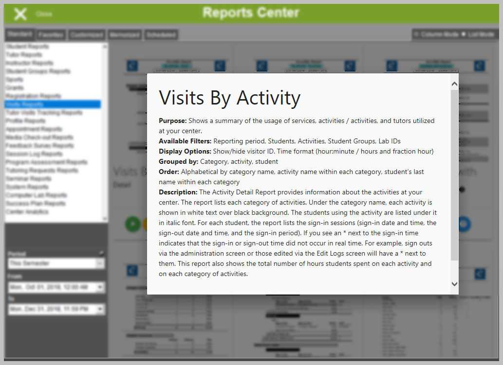 Reports Center - Help Information Pop-up