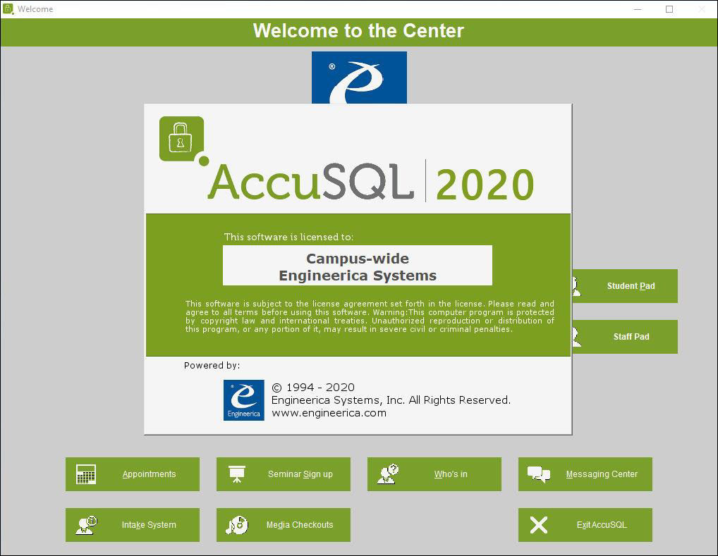 Intro License Screen